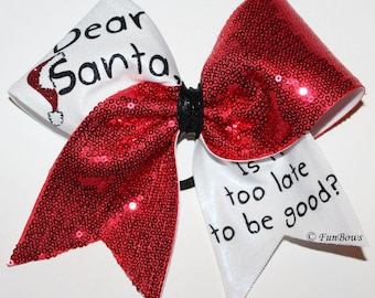 Dear Santa AWESOME Christmas Cheerleading Hairbow by Funbows