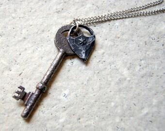 Secret Garden Key Necklace - antique skeleton key necklace with pewter flower charm