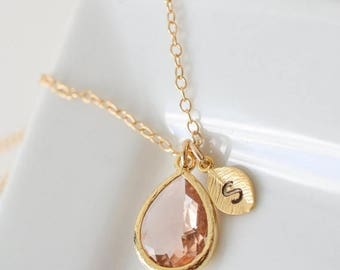 ON SALE Bridesmaid Jewelry Set of 5 Peach Champagne Teardrop Gold Necklace with Stamped Initial