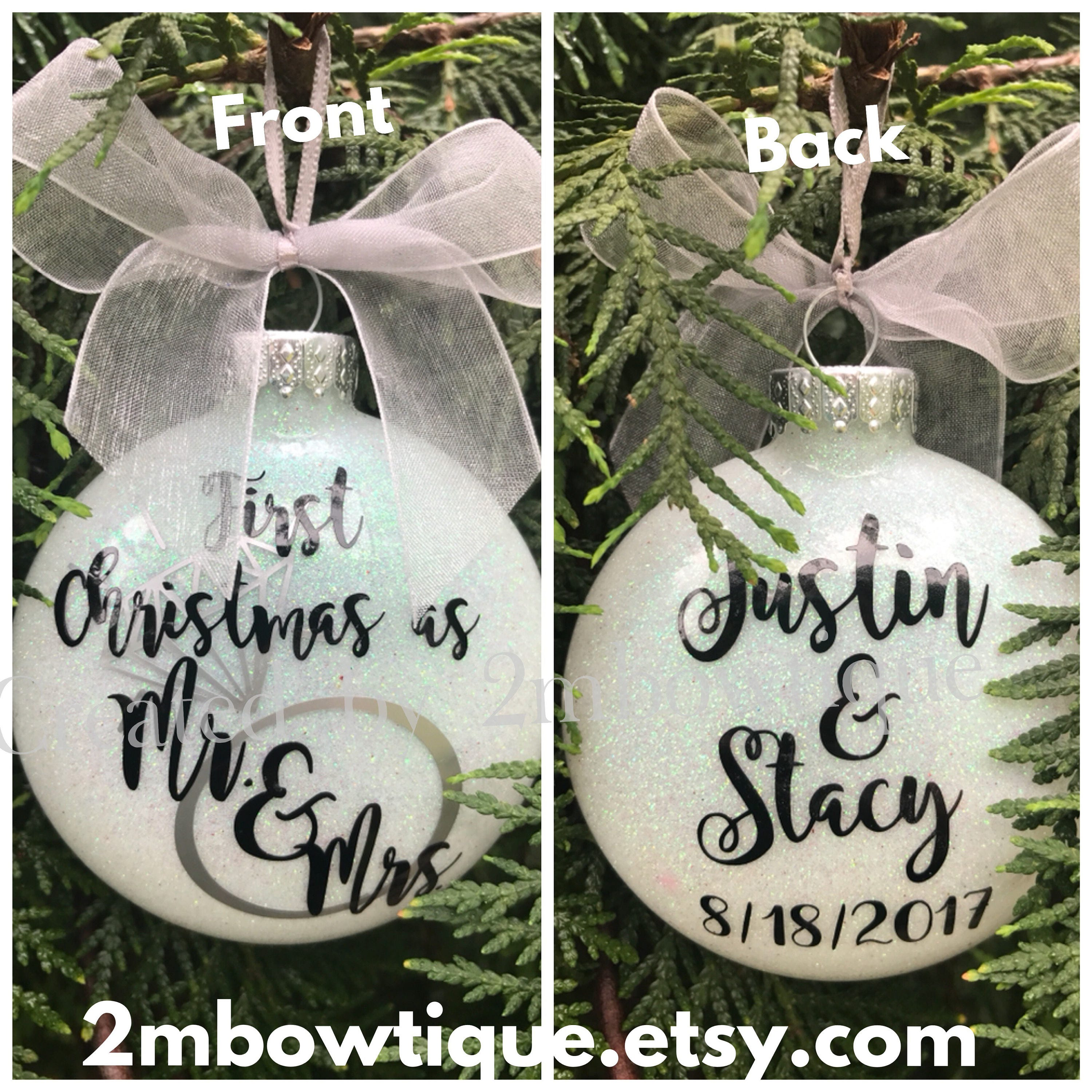 Wedding Ornament, First Christmas Ornament Married, First Christmas ...