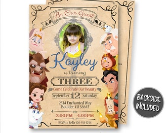 Beauty and The Beast Invitation, Beauty and The Beast, Birthday Invitation, Party, Picture, Photo, Personalized, Printables, Invites, Belle