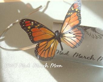 Monarch Butterfly Hairband, transparent rich colour, handmade hair accessory single hair grip
