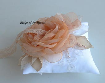 Wedding ring bearer pillow with peach flower composition ---wedding rings pillow , ring bearer pillow