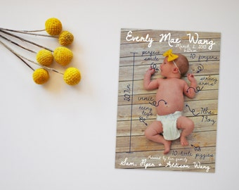 Specs Photo Baby Announcement Card, Photo Announcement Card, Baby Announcement, Baby Announcement Card, Printable Announcement