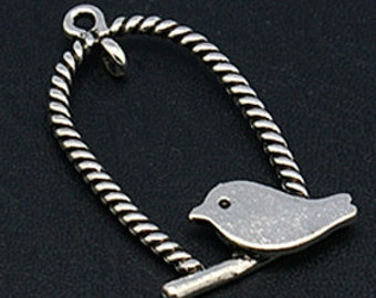 Bird Charms Pendants Vintage Style Antiqued Silver Bird on a Swing 10 Pieces Shabby Chic Cottage 32mm