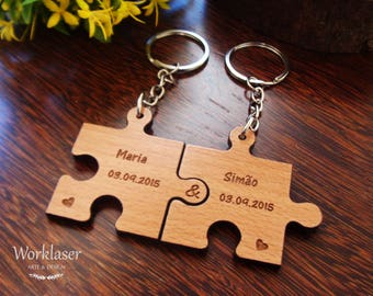 Set of 2 Puzzle Keychain, Custom Engraved Keychain, Wooden Keychain, Couple Keychain, Initial and Date Keychain, Keychain