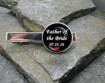 Father of the Bride Tie Clip, Gold or Silver Tie Clip, Father of the Bride Tie Bar