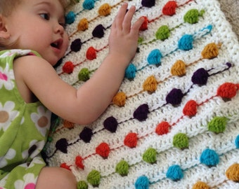 Crazy for Polka Dots Baby Blanket - PDF Crochet Pattern