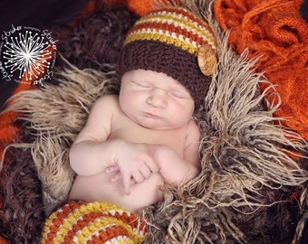 Newborn Boy Fall Set/ Newborn Button Beanie/ Striped Newborn Beanie and Short set