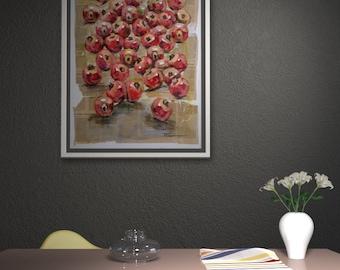 Dining room wall art, Still life painting original, Pomegranates, Fruit painting, Mixed media, Oil painting, Newspaper art, Pomegranates art