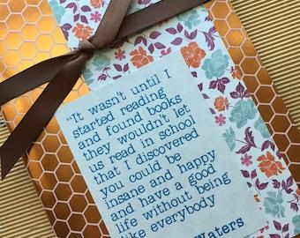 Quotebook - nid d'abeille cuivre motif - citation de John Waters - lecture de Journal - Journal intime pour les lecteurs