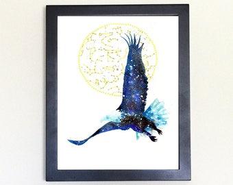Bald Eagle Art Print, Galaxy Spirit Animal Totem Guide 8x10