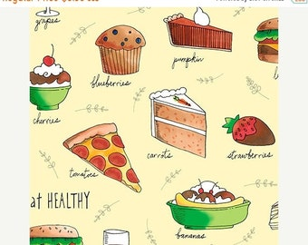 "20% off thru Apr 24th HEALTHY EATS-by the half yard by Ink & Arrow fabrics-""how to eat healthy""-junk food snacks on yellow-24787 S"