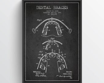 1907 Dental Braces Print, Dental Braces patent, Dentist decor, Medical Patent Prints, Home Decor, Gift Idea, ME50P