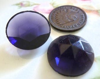 1 Amethyst Purple Glass Jewel Germany, 17mm in Diameter by 6mm thick, C13