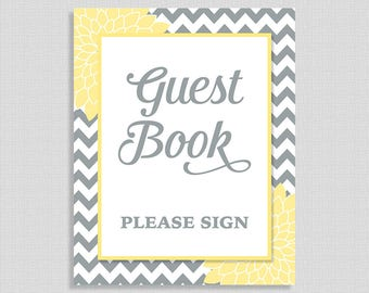 Yellow and Grey Printable Guest Book Sign, Yellow & Grey Mums Floral Shower Table Sign, Gender Neutral, INSTANT PRINTABLE