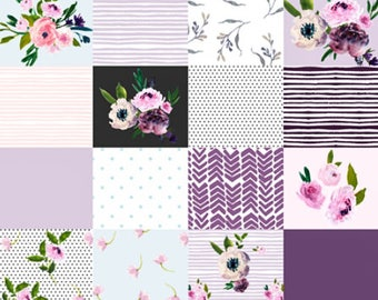 Shabby Chic Baby Quilt, Floral Baby Quilt, Purple Gray Grey, Toddler Quilt, Minky Baby Blanket, Girl Crib Bedding, Patchwork Baby Quilt