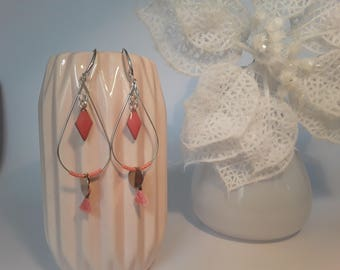 Dangle drop earrings coral