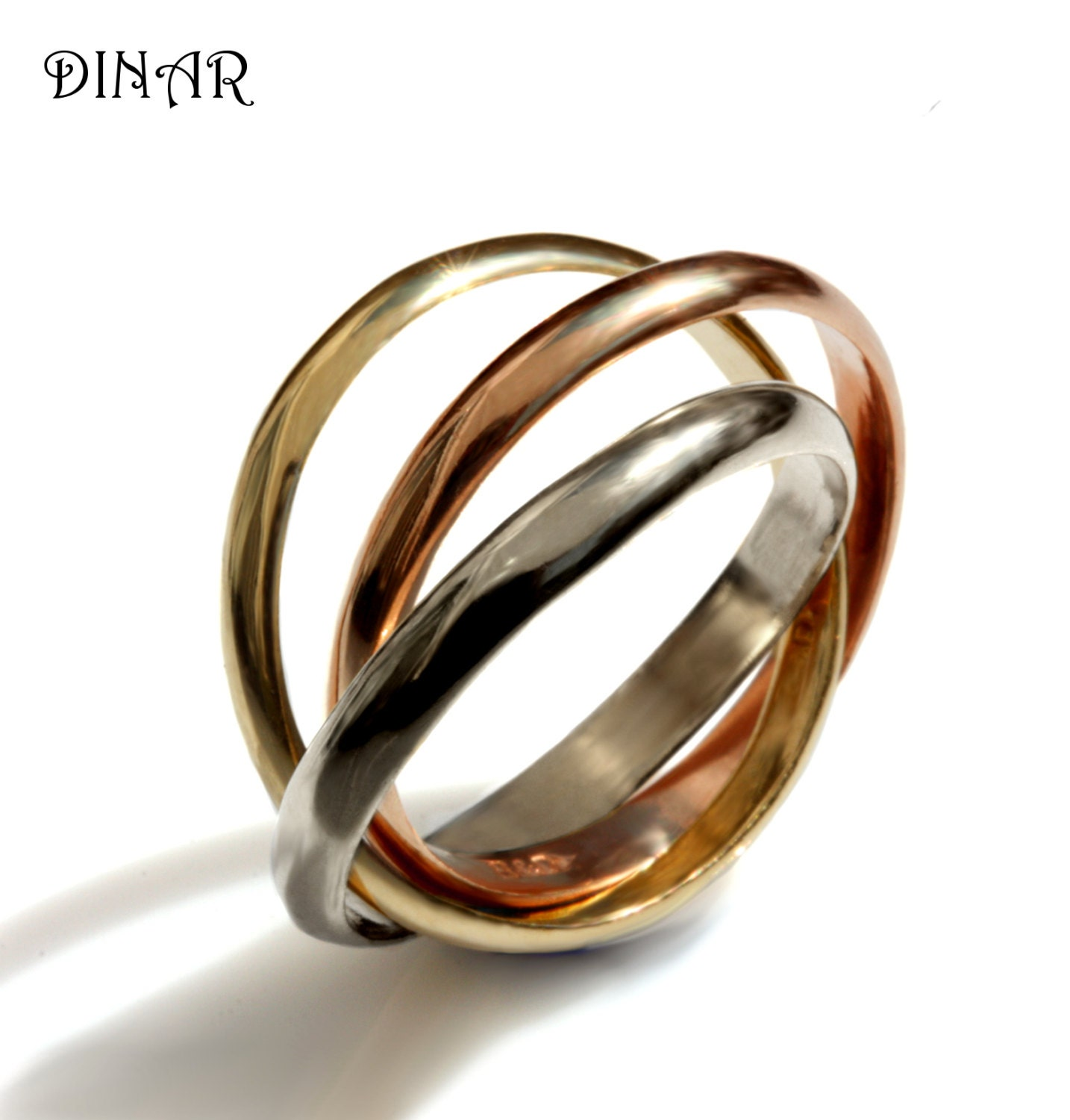 polished steel rings watches orders shipping overstock color over band free on wedding product intertwined jewelry multicolor tri stainless ring