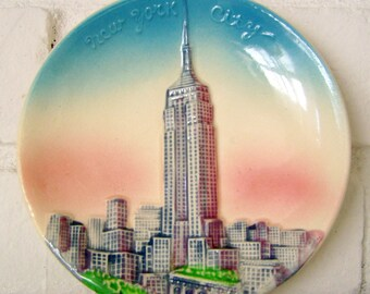 New York City Souvenir Hanging Plate, Empire State Building, hand painted