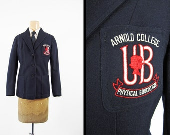 Vintage 50s Arnold College Blazer Physical Education Wool Jacket - Women's Medium