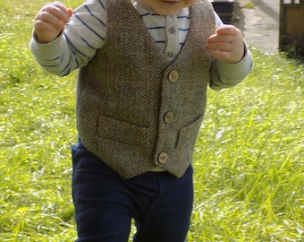 Handmade Harris tweed boys Waistcoat, with stag buttons and false pockets