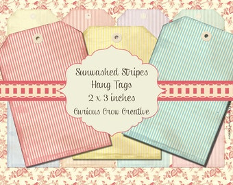 Pastel Stripes Hang Tags Digital Collage Sheet - 2 x 3 Inches - INSTANT Printable Download
