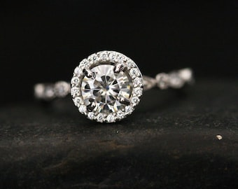Brilliant Moissanite Round 6mm Diamond Halo and Milgrain Band in 14k White Gold Engagement Ring