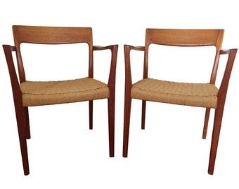 Pair of Danish Modern Teak Arm Chairs by Svegards Markaryd / Paper Cord Seats / Made in Sweden / Mid Century Scandinavian Design