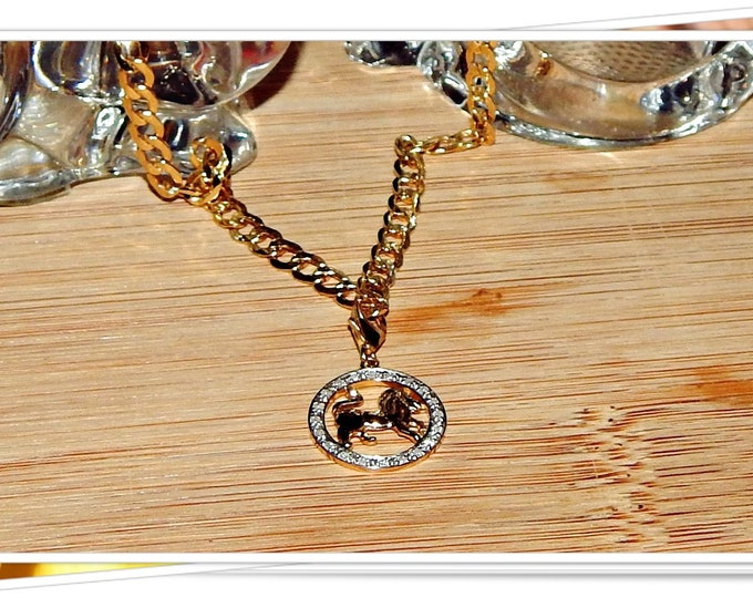 """Featured listing image: Just Reduced! Genuine 10K Gold 3/16"""" (5mm) Wide 20"""" Curb Link Chain with 14K Gold Lion Charm Surrounded by a Circle of Genuine Diamonds"""