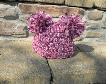 purple pom-pom baby hat
