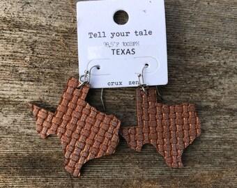 Brown metallic, super lightweight, texas, leather earrings