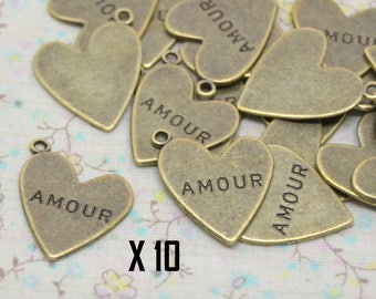 10 x charm bronze heart with love text