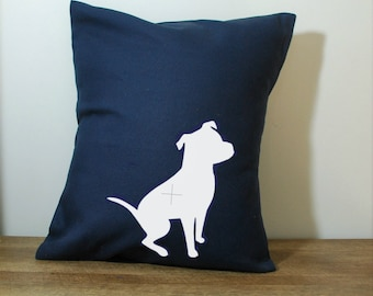 Navy Blue Pillow Cover with White Pit Bull 18x18 Inch MADE TO ORDER