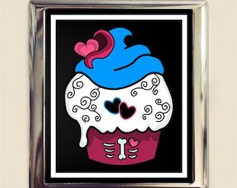 Goth Cupcake Cigarette Case Business Card ID Holder Wallet Cute Hearts Emo Dessert Bakery