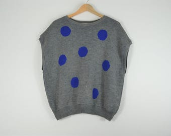 Gray Sweater with Blue Poke a Dots