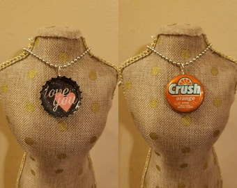 Love You / Orange Crush Spinning Bottlecap Necklace