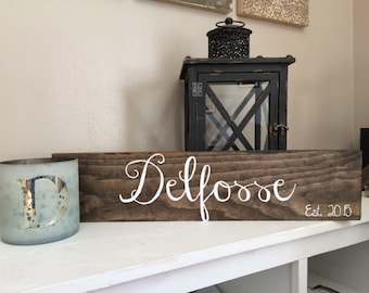 Personalized Last Name Sign - Last Name and Wedding Date - Rustic Home Decor - Wedding Gift - Housewarming Gift