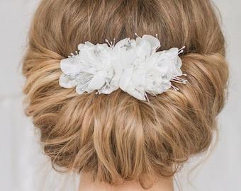 Bridal Comb, Wedding Comb, Flower Comb, Bridal Headpiece, Chiffon Flower, Wedding Hair Comb, Bridal Flower, Bridal Headpiece, Ivory Flower