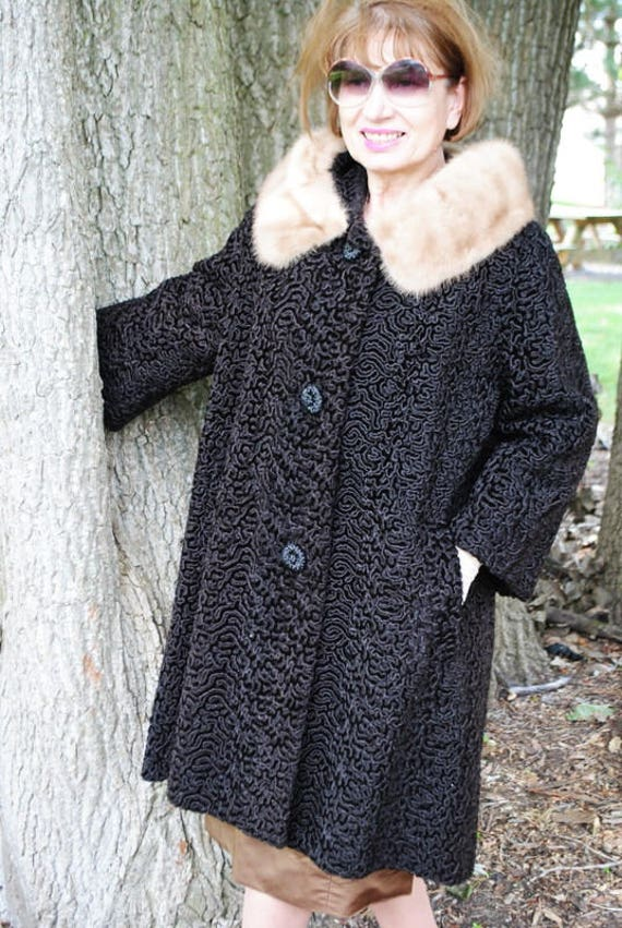 curly Luxurious sleeve M swing blond mink and bell style coat lamb with in a Astrakin Made France collar black 50s vintage by Size rqtPr