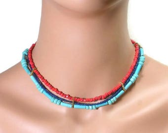 Turquoise Choker Necklace Red Blue Turquoise Necklace Turquoise Multistrand Necklace Egyptian Style
