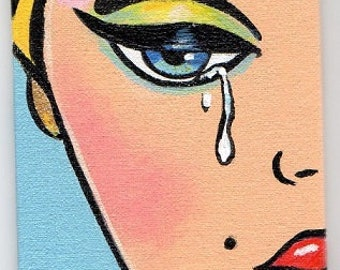 ACEO Original  Miniature  Painting Pop Art Comic Barbie Girl Crying Artist Trading Card