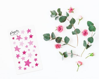 Pink Watercolor stars Stickerset-Watercolor sticker-pretty planning-scrapbooking-bullet journaling