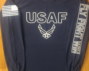 U.S. Air Force - Air National Guard - Long Sleeve - Large - Navy/White - Free Shipping