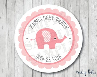 Elephant Baby Shower Stickers, Labels or Tags, Personalized Elephant Tags