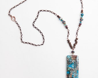 Blue Stone Necklace, Jasper Necklace, Copper Necklace, Blue Copper, Impression Jasper Stone Necklace, Boho Necklace, Bohemian Necklace,