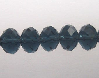 20 bead 6 X 8 mm faceted montana blue flat glass, donut