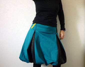 Ball skirt teal blue and black, small multicolored dots