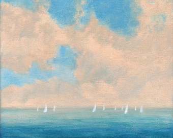 Sailing - Original Landscape Painting 8x8 Sea Sky Sea Coast Beach Ocean Boat Surf