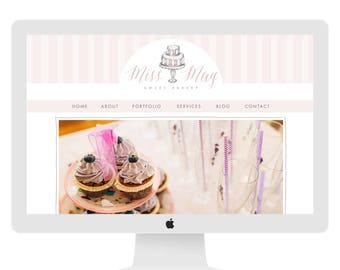 Wix Website template, website design, bakery website, cupcake, vintage pink cake, website template, wedding cake, bakery logo 4899